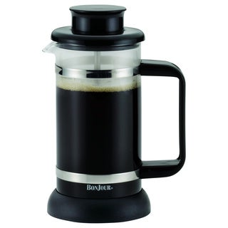 BonJour Coffee and Tea 3-cup Riviera Black French Press with Coaster and Scoop