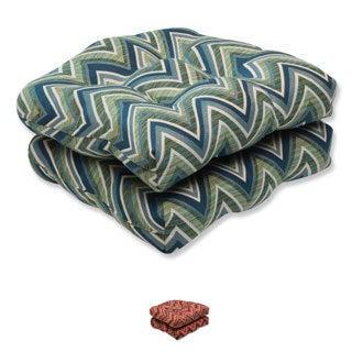 Pillow Perfect Wicker Seat Cushion with Sunbrella Chevron Fabric (Set of 2)