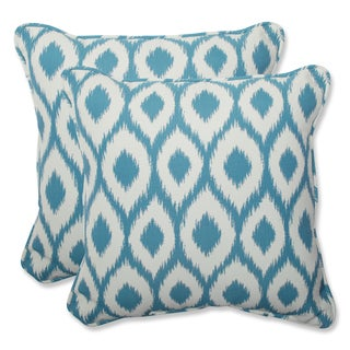 Pillow Perfect 18.5-inch Throw Pillow with Bella-Dura Shivali Turquoise/Cream Fabric (Set of 2)
