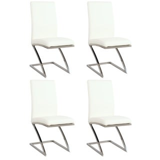 Somette White Z-frame Contemporary Side Chair (Set of 4)