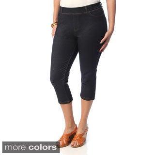 La Cera Women's Plus Size 5-pocket Denim Capri Pants