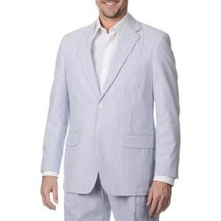 Henry Grethel Men's Navy/ White Seersucker 2-button Double Vent Jacket
