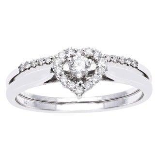 Beverly Hills Charm 14k White Gold 1/4ct TDW Bridal Heart Ring Set (H-I, SI2-I1)