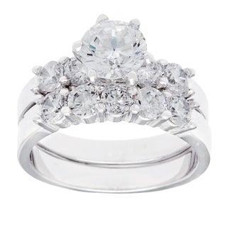 Simon Frank White Rhodium Overlay Cubic Zirconia Bridal-inspired Ring Set