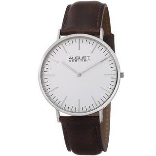 August Steiner Men's Conrad Ultra-Slim Japanese Quartz Leather Strap Watch
