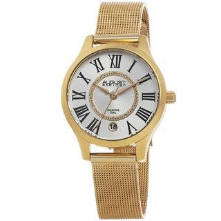 August Steiner Women's Quartz Diamond Stainless Steel Mesh Bracelet Watch