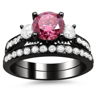 Noori 18k Black Gold Certified 2 1/2ct Pink and White Round Diamond Bridal Ring Set (G-H, SI1-SI2)