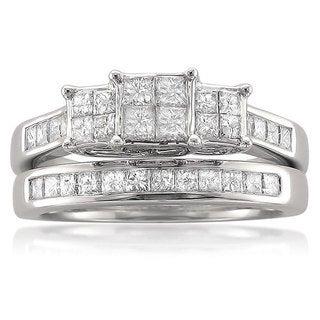 14k White Gold 1 1/10ct TDW Quad Princess Diamond Bridal Set (G-H, I1-I2)