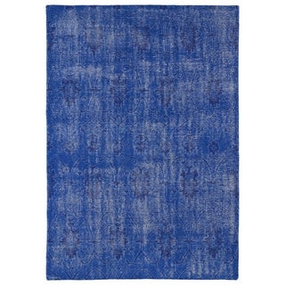 Hand-Knotted Vintage Replica Blue Wool Rug (9'0 x 12'0)