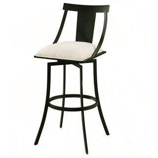 Amrita Graphite Black/ White Upholstered Swivel Bar Stool