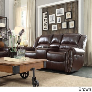 TRIBECCA HOME Isaac Bonded Leather Double Glider Reclining Loveseat with Console