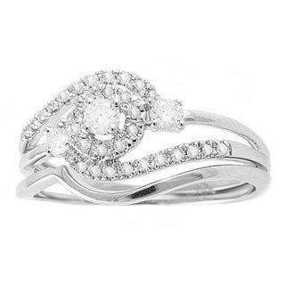 Beverly Hills Charm 14k White Gold 1/3ct TDW Round Swirl Halo Diamond Bridal Set (H-I, SI2-I1)