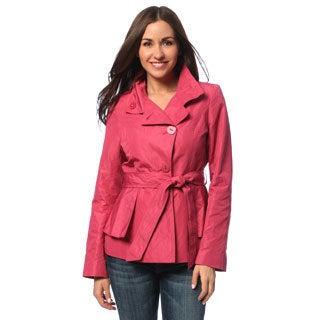 Tahari Women's Think Pink Peplum Belted Rain Trench Coat