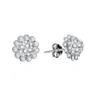 Gleaming Sunflower Cubic Zirconia .925 Silver Stud Earrings (Thailand)