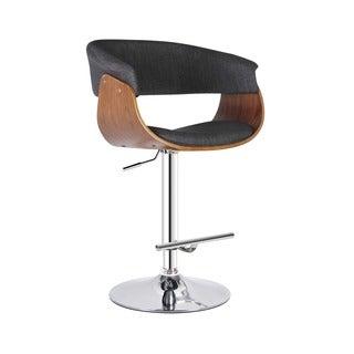 Modern Khaki Upholstered Adjustable Swivel Barstool