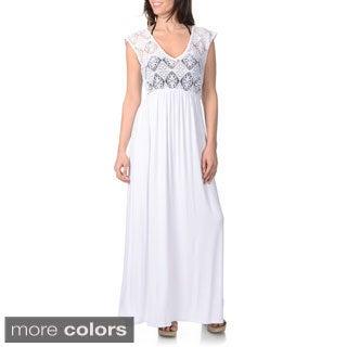 Blue Island Women's Sleeveless Crochet Bodice Maxi Dress