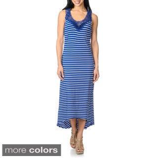 Spiaggia Dolce Women's Striped Crochet-yoke Swim Cover-up Maxi Dress