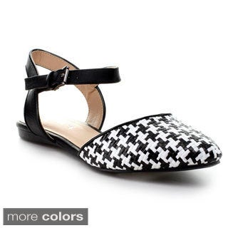Mixx Shuz Women's Jean Pointy Toe Two-tone Ankle Strap Flats