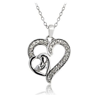 DB Designs Sterling Silver 1/4ct TDW Diamond Adoring Parent Necklace (I-J, I2-I3)