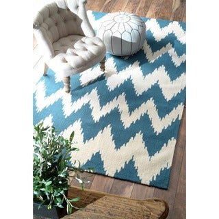 nuLOOM Hand-tufted Chevron Ikat Medium Blue Rug (9' x 12')