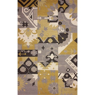 nuLOOM Hand-hooked Patchwork Wool Mustard Rug (8' 6 x 11' 6)