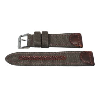 Hadley Roma Genuine Leather & Canvas Swiss Army® Style Watch Strap
