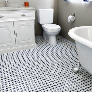 SomerTile 10.5x10.5-inch Victorian Basket Weave White/Cobalt Porcelain Mosaic Tile (Pack of 10)
