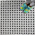 SomerTile 10.5x10.5-inch Victorian Basket Weave Black/White Porcelain Mosaic Tile (Pack of 10)