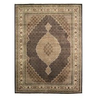 EORC Black Hand-knotted Wool and Silk Tabriz Mahi Rug (6' x 9')
