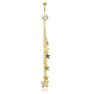 Misbehave Stainless Steel Cubic Zirconia Belly Ring