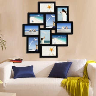 Adeco Black Wood Hanging 10-opening Collage Photo Frame