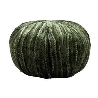 Mina Victory Faux Fur Pouf Green 27 -inch Round by Nourison