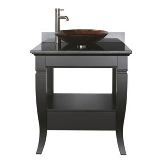 Avanity Milano 30-inch Single Vanity in Black Finish with Vessel Sink and Top