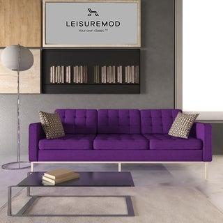 Somette Lorane Modern Purple Wool Fabric Button-tufted Sofa