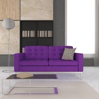 Somette Lorane Modern Purple Wool Loveseat