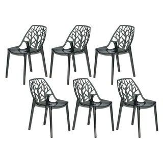 Somette Modern Flora Transparent Black Plastic Dining Chair (Set of 6)