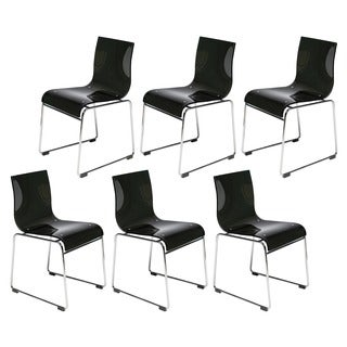 Somette Moreno Transparent Black Acrylic Modern Chair (Set of 6)
