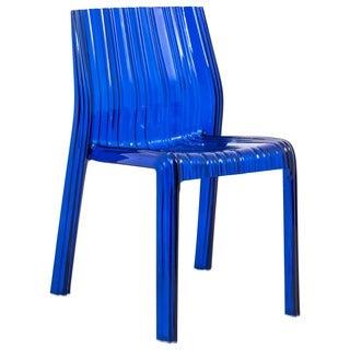 Denville Transparent Blue Plastic Dining Accent Chair