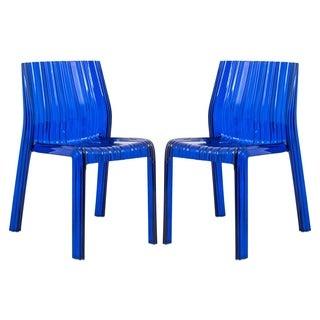 Denville Transparent Blue Plastic Dining Accent Chair (Set of 2)