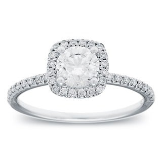 14k White Gold 1 1/10ct TDW Round-cut Diamond Halo Engagement Ring (G-H, SI2-I1)