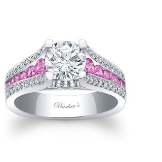 Barkev's Designer 14k White Gold Diamond and Pink Sapphire Ring (F-G, SI1-SI2)