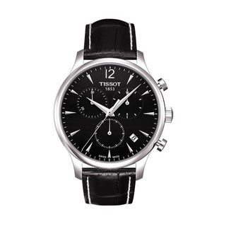 Tissot Men's T0636171605700 Classic Stainless Steel Black Leather Analog Watch