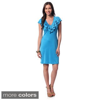 24/7 Comfort Apparel Women's Ruffled Cap Sleeve Knee-length Dress