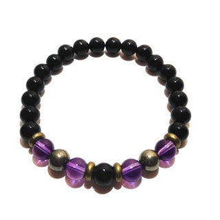 Black Tourmaline/ Amethyst and Pyrite Protection Bracelet