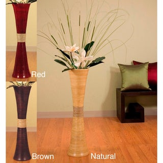 Tall Bamboo 32-inch Trumpet Vase and Magnolias