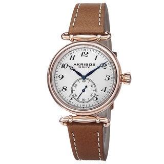 Akribos XXIV Women's Swiss Quartz Stainless Steel Leather Strap Watch