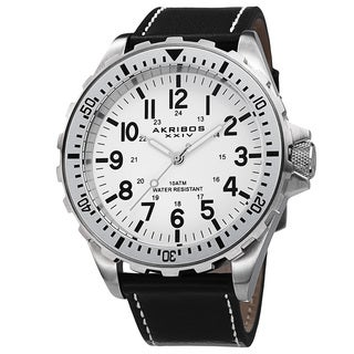 Akribos XXIV Men's Swiss Quartz Rotating Bezel Leather Strap Watch