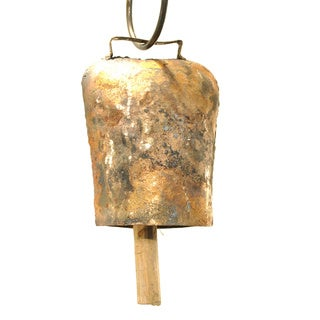 Handmade 5-inch Antiqued Goldtone Cow Bell (India)