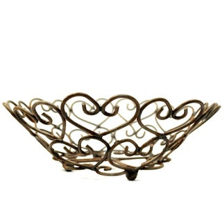 Handmade Woven Hearts Iron Basket (India)