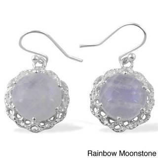 Sitara Hand-crafted Sterling Silver Gemstone Filigree Dangle Earrings (India)